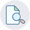 document, file, find, magnifier, page, search icon
