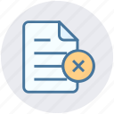 cross, document, file, list, page, paper, sheet icon