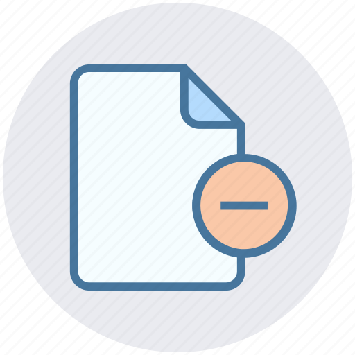 document, file, list, minus, page, paper, sheet icon