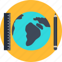 global, infrastructure, pencil, planet, ruler, world icon