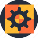 application, automated, cogwheel, engine, process, software, solution icon