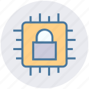 chip, cpu, data, hardware, lock, processor, security icon