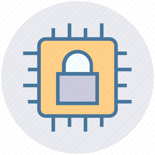 chip, cpu, data, hardware, lock, processor, security icon
