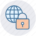 global, lock, private, protect, safe, security, world icon