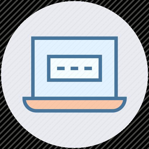 data, laptop, laptop password, login, notebook, password icon
