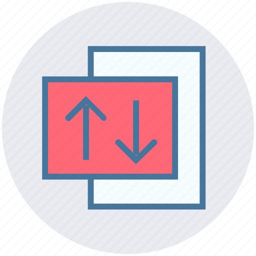 arrows, data science, paper, sharing, up and down arrows icon