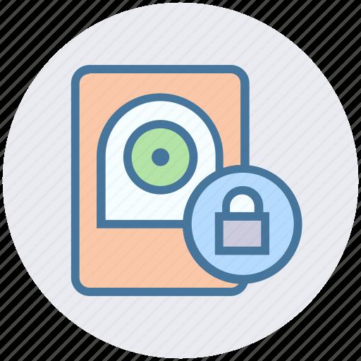 computer hardware, data drive, hard drive, hard drive disk, lock, secure icon
