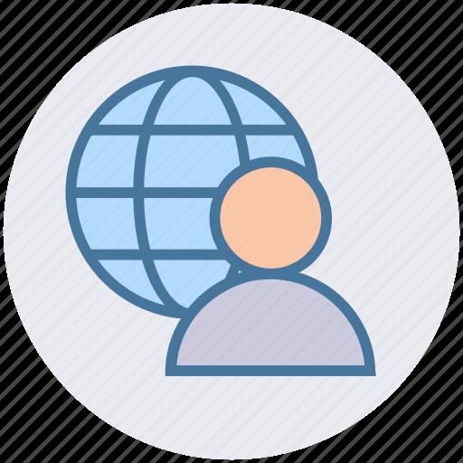 data science, globe, internet, man, user, world icon