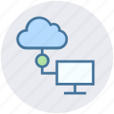 cloud, connection, data science, device, lcd, network icon