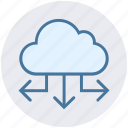 arrows, cloud, data, data science, sharing icon
