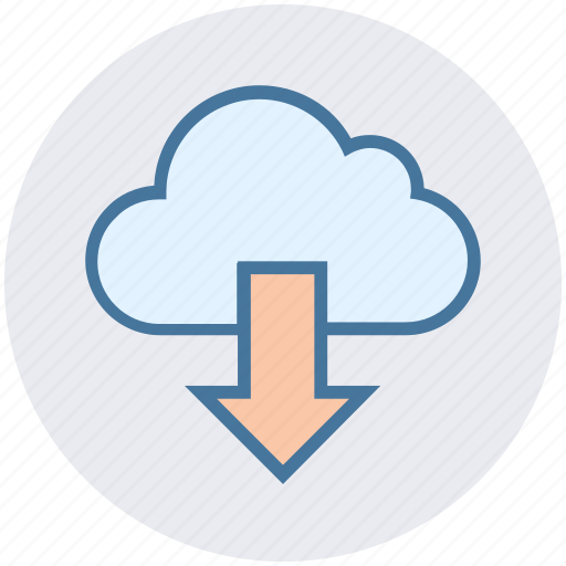 arrow, cloud, cloud computing, data, down, download, science icon