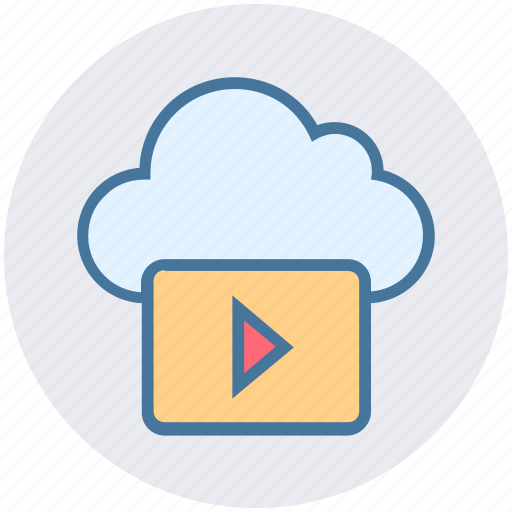cloud, data, media, music, play icon