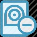 computer hardware, data drive, data science, hard drive, hard drive disk, minus icon