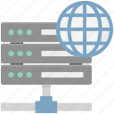 database, globe with database, globe with server, network server, server connection, server storage, web hosting