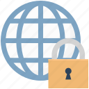 globe, internet security, lock, networking, secure network icon