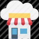 cloud shop, cloud shopping store, cloud store, market, market store, retail shop, super store icon