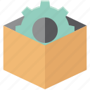 box settings, box with cog, cog inside box, delivery box, delivery box with cog, delivery pack, gear wheel in box icon