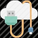 cloud cable connector, cloud usb cable, cloud usb connector, cloud usb wire, usb cord icon