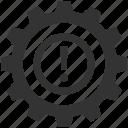 cog, cogwheel, dashboard warning, exclamation, powertrain warning