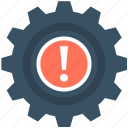 cog, cogwheel, dashboard warning, exclamation, powertrain warning