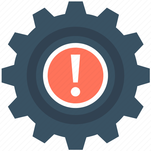Cog, cogwheel, dashboard warning, exclamation, powertrain warning icon - Download on Iconfinder