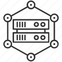 atom, database, electron, network server, science icon