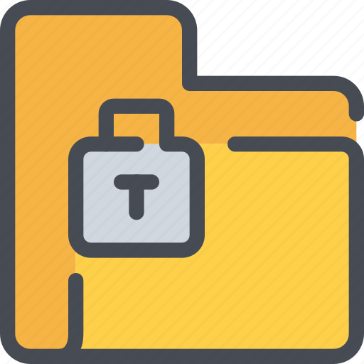 data, file, folder, padlock, secure, security icon