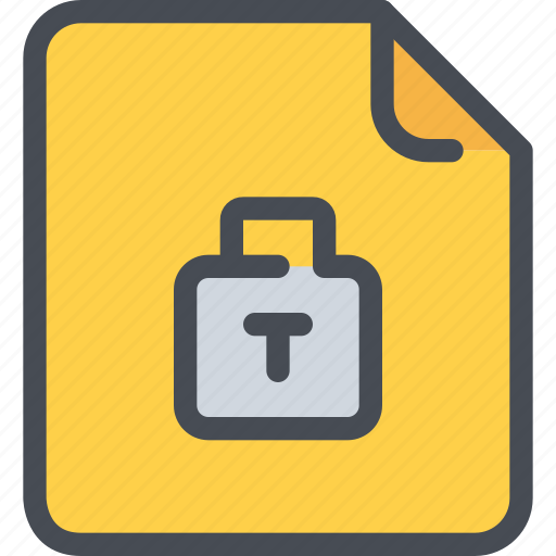 data, document, file, padlock, secure, security icon