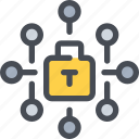 connect, data, network, padlock, secure, security icon