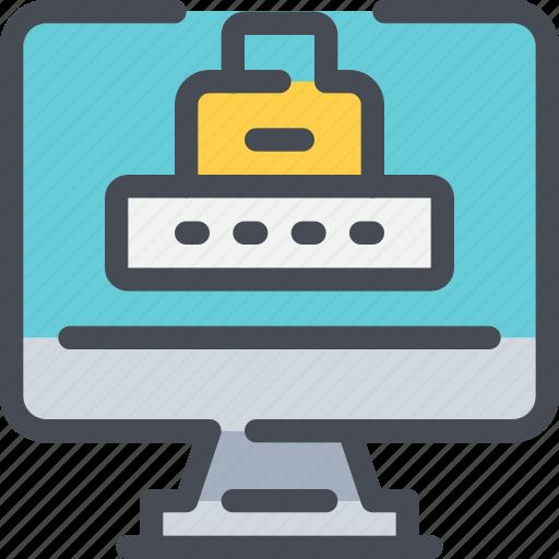 computer, data, padlock, password, secure icon