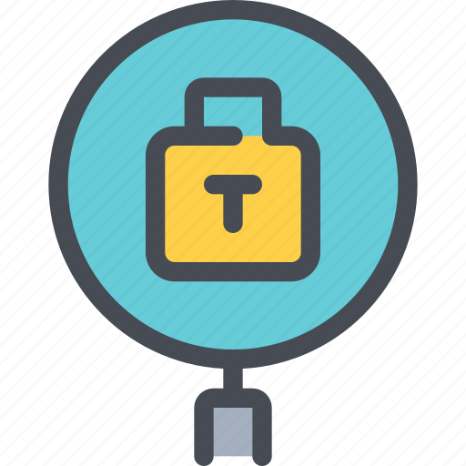 data, padlock, search, secure icon