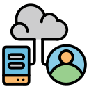 avatar, cloud, computer, database, hybrid, user icon