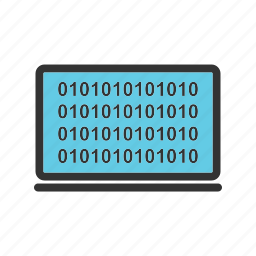 binary, code, computer, data, digital, number, screen icon