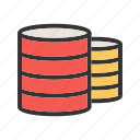 computer, data, information, multiple, servers, technology icon