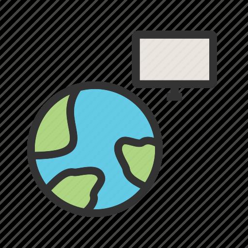 data, global, globe, internet, map, technology, world icon