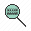 barcode, binary, code, glass, magnifying, search icon