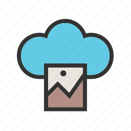 cloud, image, media, phone, screen, technology icon