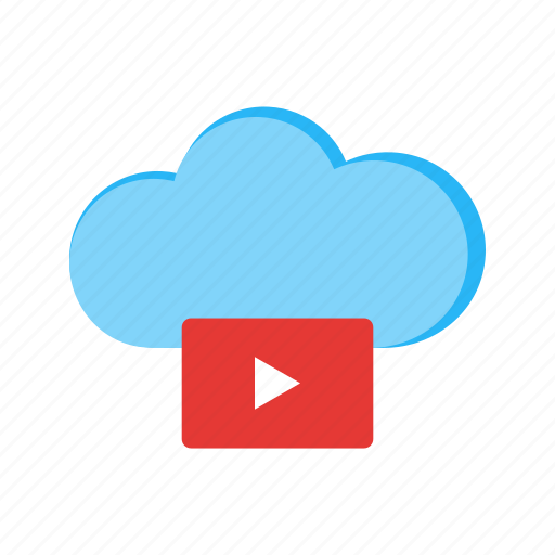 cloud, media, phone, screen, technology, video icon