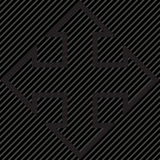 four arrows, media option, move arrows, move selection, selection arrows icon
