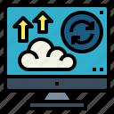 arrows, backup, cloud, computer, data