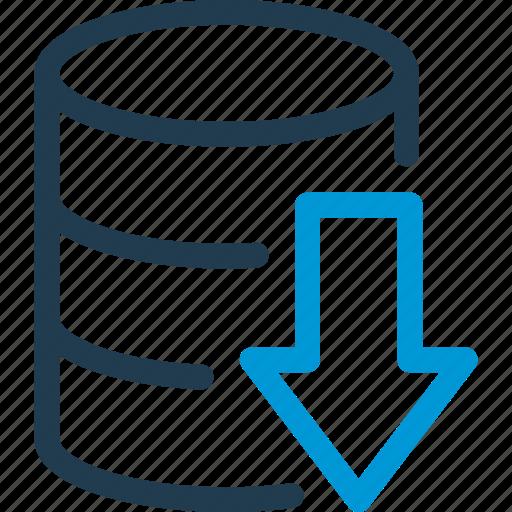 arrow, data, database, db, download, file, storage icon