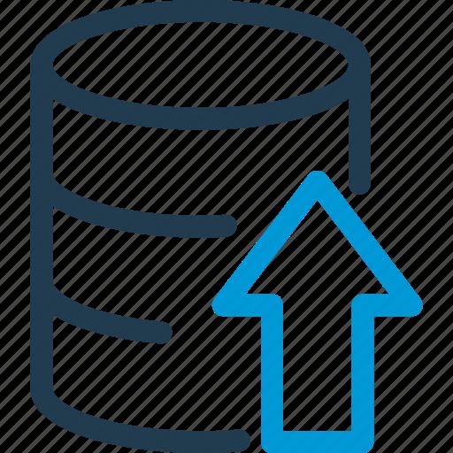 arrow, data, database, db, file, storage, upload icon