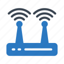 antenna, modem, router, signal, wireless icon