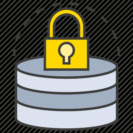database, key, lock, network, protect, secure, server icon