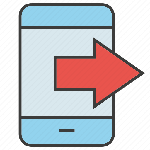Mobile, gadget, communicate, phone, arrow, output icon