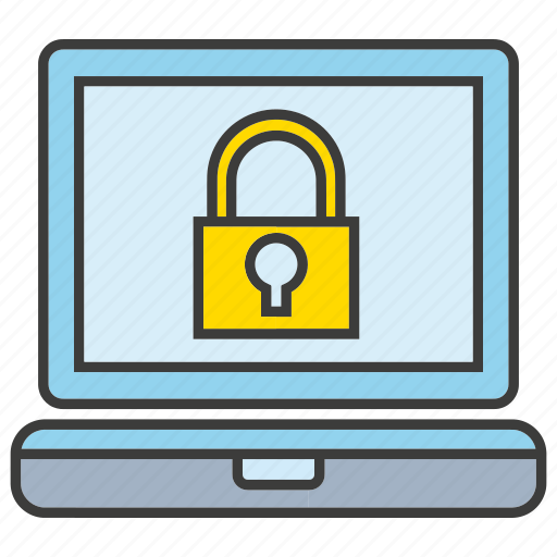 computer, key, laptop, lock, protection, secure icon