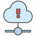 alert, bug, cloud, computing, hosting, server, warning icon