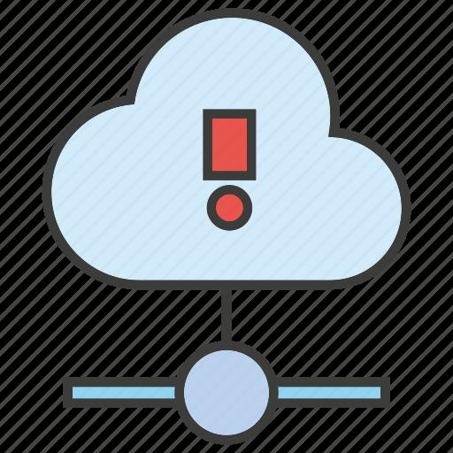 Computing, hosting, server, warning, alert, bug, cloud icon