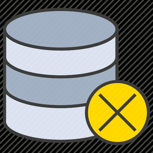 ban, data center, database, hosting, network, server, wrong icon