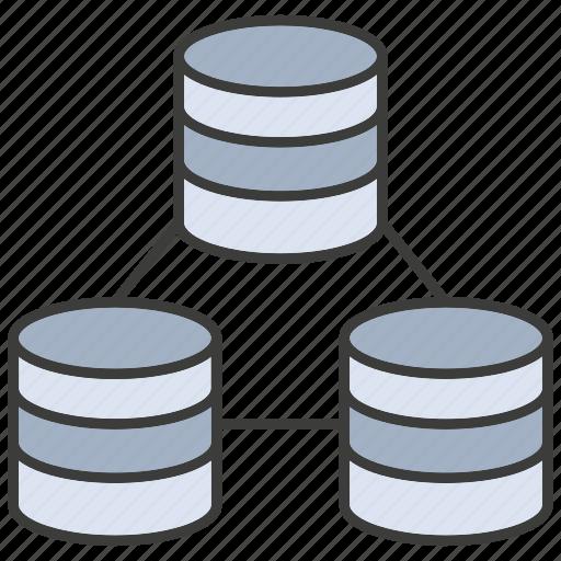 Network, database, storage, hosting, server, data center, connect icon